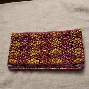 Loft Multi Colored Beaded Handbag